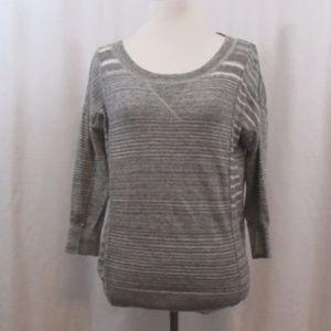 Ann Taylor LOFT Gray Striped 100% Cotton Top S
